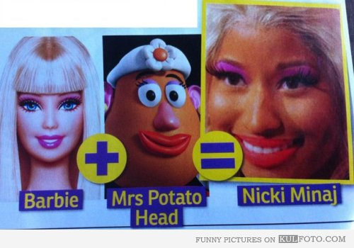 rascojet:  Barbie + Mrs. Potato Head = Nicki Minaj