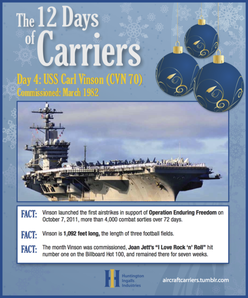 ♫ On the fourth day of carriers,the Navy gave to me:Four steam turbines on VinsonThree 20mm Phalanx rotary gun systems on EisenhowerTwo nuclear reactors on NimitzAnd an island house on the Enterprise!