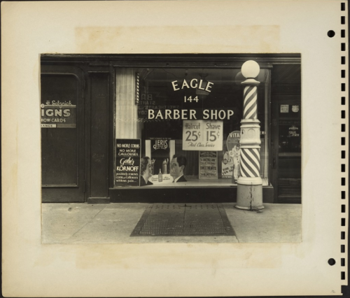 Eagle Barber Shop, New York City, c. 1938 Rudy Burckhardt