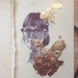 fuckyeahmoleskines:  rachel duffy - ball point pen and gold leaf mallorylucille.tumblr.com