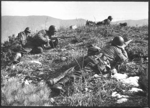 Turkish soldiers on patrol, Korea 1951