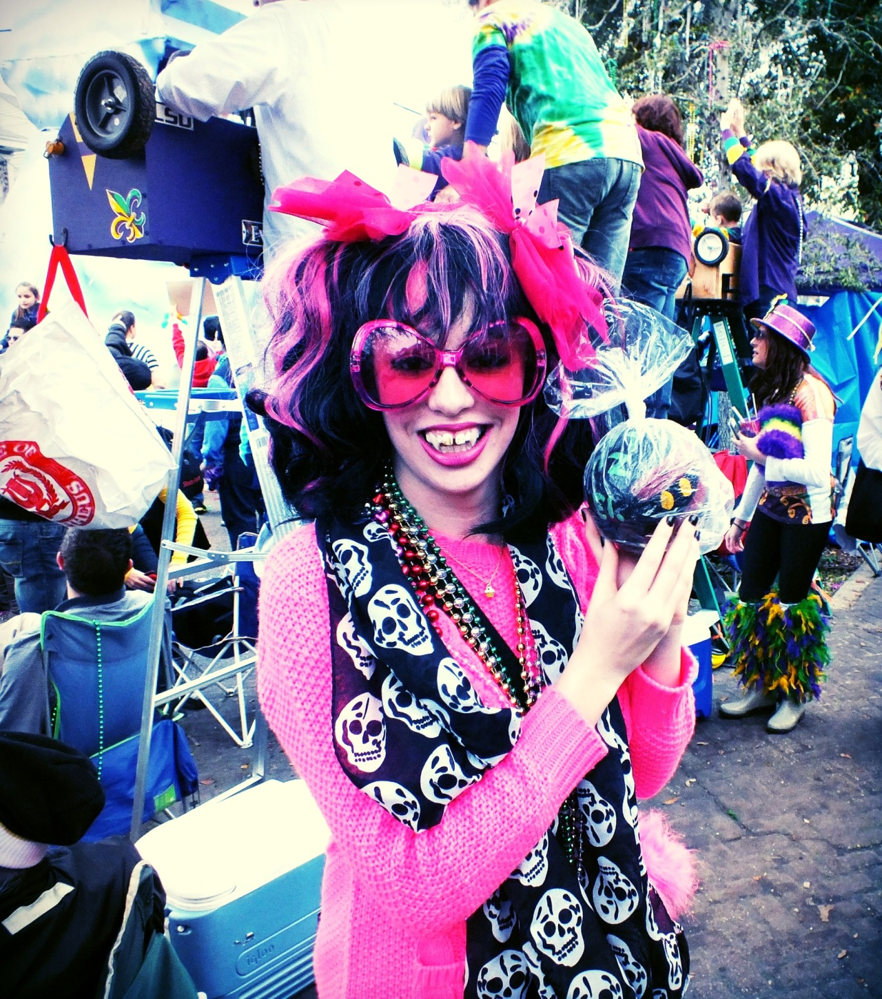 My FIRST Mardi Gras  dressed as Draculaura and getting my FIRST Zulu Coconut! YAY!  <3