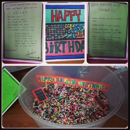 Tq @aisyah_hajimuhammad for this wonderful birthday card…sedih plak bca…dont worry..i will always remember u…bestfriends forever okey!!  :)
