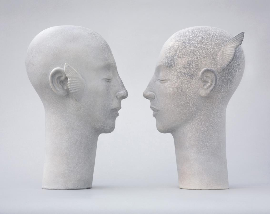 Glenys Barton. Toni Angel Heads, 2006. Ceramic, 35 x 19 x 21.6 cm.