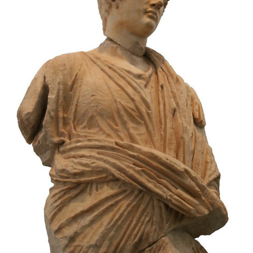 Roman Man In Toga A statue of a man of ancient Rome carved in marble depicitng a priest or other representation of people. The toga, a distinctive garment of Ancient Rome, was a cloth of perhaps 20 ft (6 m) in length which was wrapped around the body and was generally worn over a tunic. The toga was made of wool, and the tunic under it often was made of linen. After the 2nd century BC, the toga was a garment worn exclusively by men, and only Roman citizens were allowed to wear the toga. After this time, women were expected to wear the stola; to distinguish prostitutes from respectable women, prostitutes were required to wear the toga. Follow the link to see all my The Reliefs of The Sebasteion, AprodisiasClick the links to see all of my Redbubble Aphrodisias Paintings,Aphrodisias Photography, Aphrodisias Greeting Cards, Aphrodisias Stickers, Aphrodisias Tees,, Aphrodisias iPhone Cases and Aphrodisias iPads.    -——————————————————————————————————————————————————      *My Images Do Not Belong To The Public Domain. All images are copyright © taiche. All Rights Reserved. Copying, altering, displaying or redistribution of any of these images without written permission from the artist is strictly prohibited