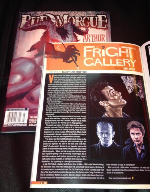 Very happy to get my copy of  Rue Morgue magazine (issue #131 March 2013) featuring my paintings of horror icons on black velvet! The magazine is on sale now!