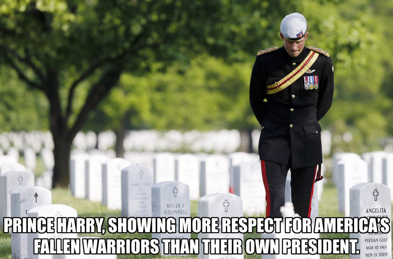 Prince Harry at Arlington National Cemetery. This young man seems to be more of a leader than our current president.