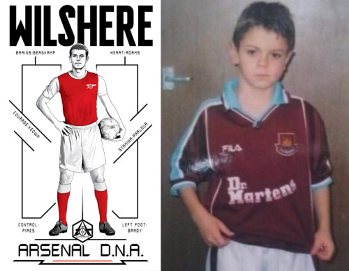 "This photo is an homage to Jack Wilshere, who heartily applauded the wrongful sending off of Vincent Kompany in a game his team lost handily only to see it get overturned today. Scientists have yet to determine what aspect of Arsenal DNA that ""hilarious clapping"" comes from, or if it's a remnant of any leftover West Ham United DNA Wilshere may have gotten from that shirt. (Also, Bergkamp and Pires didn't play at Arsenal until their mid-20's and cut their teeth in the academies at Ajax and Metz, respectively. Arsenal DNA!)"
