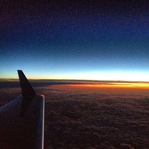 #Sunset glow somewhere over Wyoming.  (at In The Sky)