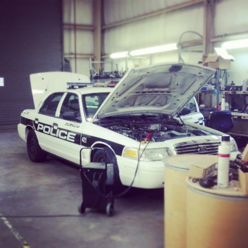 Durham PD Cruiser in our shop getting worked on.
