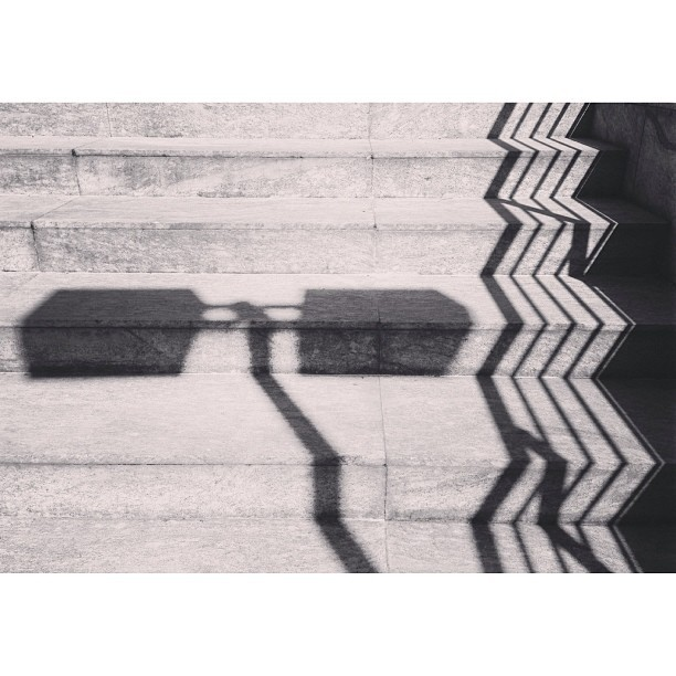 Railing shadow on stairs #railing #stairs #shadow #sombra #escada #ims #riodejaneiro #rj #ims