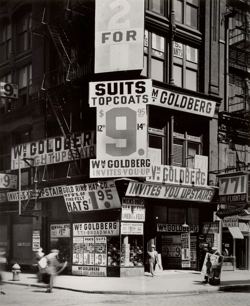 ckck:  Wm. Goldberg's clothing store. 771 Broadway, New York City, circa 1930s. Photograph by Berenice Abbott.