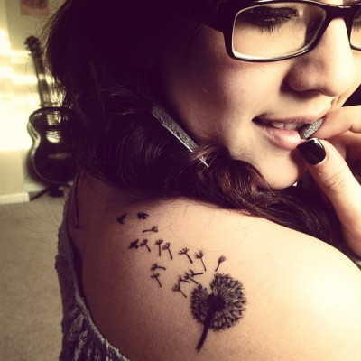 My love for dandelions and their meaning led for this tattoo to represent my best wishes being sent to those three birds representing my grandparents and my uncle who passed away in a house fire, i absolutely love it!  Done by Terrence at Identity Ink in Lubbock, TX!
