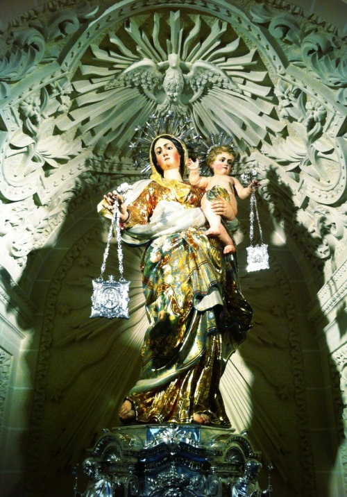 The statue of Our Lady of Mount Carmel in the Carmelite church in Valletta, Malta.