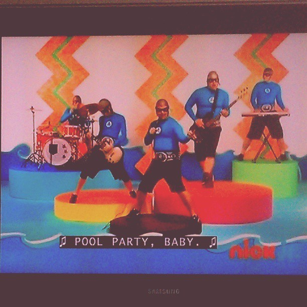 Pool Party by The Aquabats… I think @shmaynee knows. Lol. #poolparty #yogabbagabba