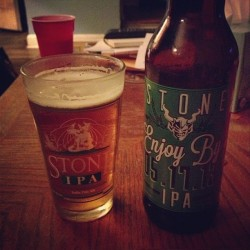 Finally giving this bad boy a taste. #stonebrewingco #enjoyby #051113 #ipa #craftbeer #brew
