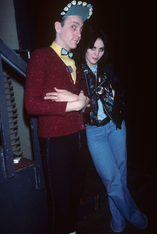 Joan Jett ask me to take a photo of her with Rick Nielson from Cheap Trick backstage at the Santa Monica Civic Auditorium in 1977. She was rather shy! Photo by Brad Elterman