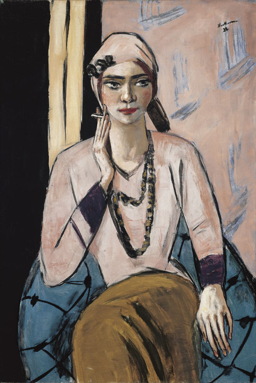 colourthysoul:  Max Beckmann - Quappi in a pink jumper
