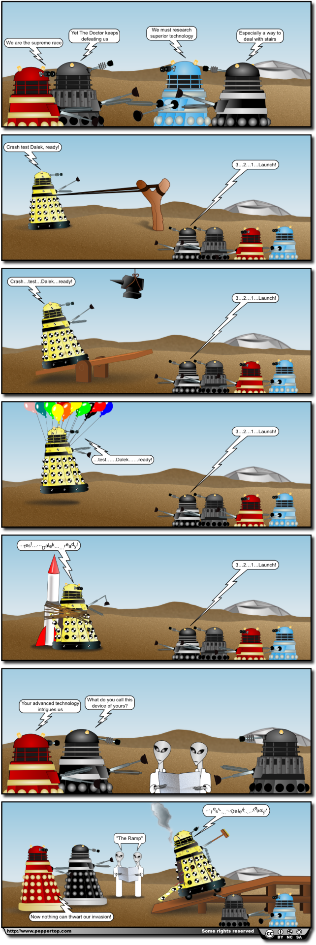 'Crash Test Dalek' This strip first appeared on our website in October 2010. Click through for our original commentary, an Italian translation of the strip, and to download the original Inkscape SVG source file.