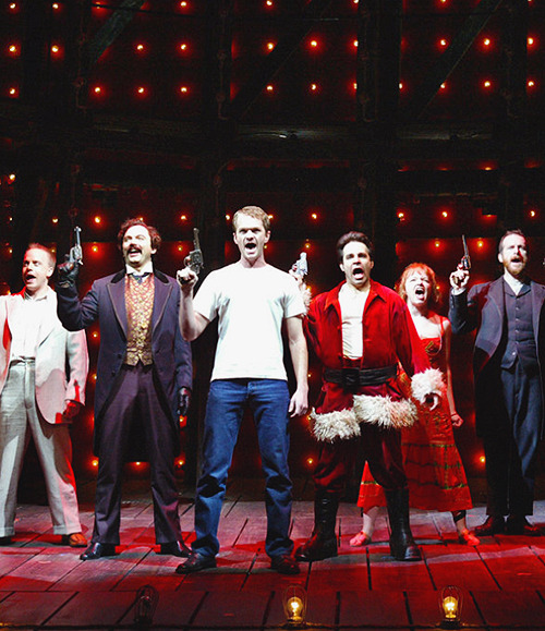 Jeffrey Kuhn, Michael Cerveris, Neil Patrick Harris, Mario Cantone, Mary Catherine Garrison and Denis O'Hare in Assassins (2004).