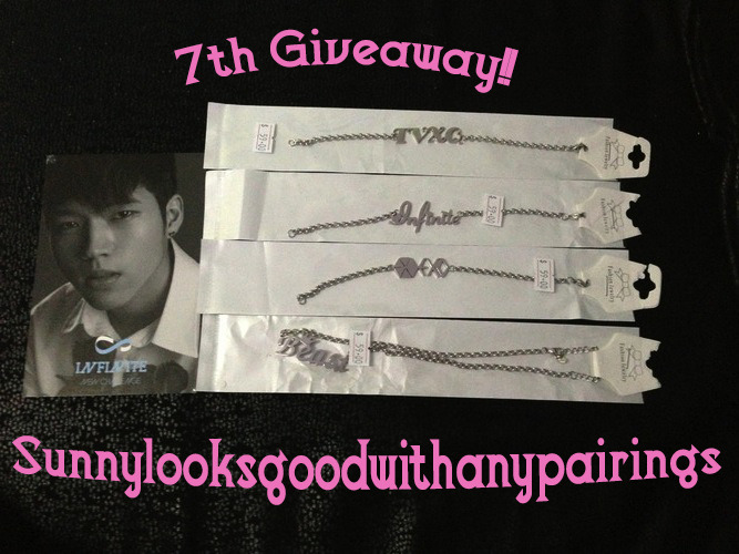 "sunnylooksgoodwithanypairings:  [UNTITLED] The 7th Giveaway PRIZES: 1 necklace of BEAST 1 Bracelet of EXO, INFINITE and TVXQ 1 Photocard from ""New Challenge"" album There would be 4 as FOUR winner, lol each winner get one accessory, though only the 1st winner get the Photocard from the Album ""Man In Love"" [WHAT TO DO A.K.A PLEASE READ THROUGH] Follow me, but don't follow me, just because of the giveaway!!! 2 re-blogs/day and one like <— MOST IMPORTANT!!! I'm gonna murder you, if you reblog more than 2x a day(╯°□°)╯︵ ┻━┻ NO Giveaway blog!!!!! You can message me with any questions or concerns Winners must have enabled their ask box The Winners must respond to the message within 24hours It will end, when I am satisfied with the notes (ca.1000-ish)"