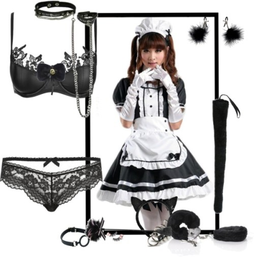 Here Naughty Kitty by squirrelette featuring a chain necklaceAgent Provocateur panty, $50 / Push up bra / Chain necklace / Pink eye makeup / Amazon.com: TOMSUIT Cute Anime Cosplay French Apron Maid Fancy Dress… / Fetish Fantasy Extreme Silicone O-ring Gag / Umiwe(TM) 1 Set(2pcs) Party Ball Unique Head Decoration Plush Cat Ears… / Amazon.com: SeasonsTrading Black Plush Animal Tail ~ Halloween Animal…
