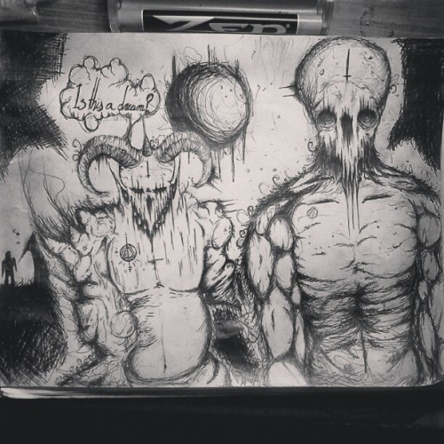 #art #drawing #monster #death #creepy #demon #satan #666 #darkart #blackcraftcult #devil #evil #sketch is this a #dream
