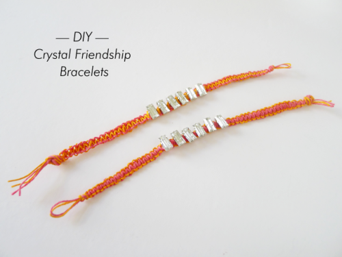 DIY Crystal Macrame Friendship Bracelets from Thanks, I Made It