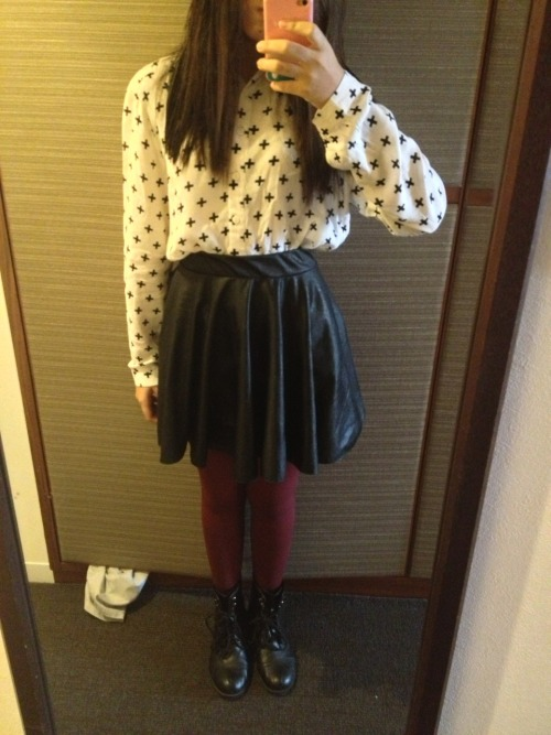 Day 6 (Kyoto) - Outfit Post  Button Down Shirt - H&M Leather Skirt - Yhansy Stockings - H&M Combat Boots - Soda
