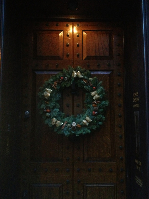 The finished door with overglaze and verdigris on the iron studs  Joyeux Noel