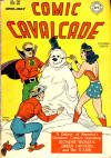 superdames:The JSA builds a snowman.—Comic Cavalcade #20 (1947) cover by Martin Nodell