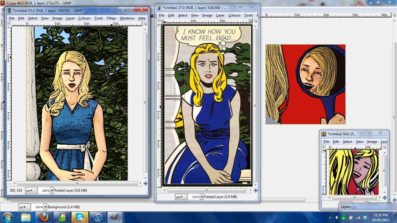 Progress on the sim Lichtenstein paintings.