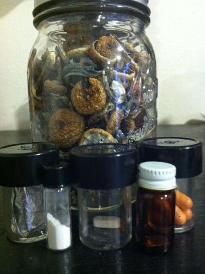Jar of shrooms, 6 tabs of LSD, 500mg MXE, 1 Nintendo pressed pill, 1 tab NBOMe, a few 30mg Adderal XRs