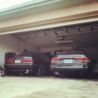 thatobscuregalantdude:  Finally…both are running at the same time. #galant #e39a #e56a #mitsubishimotors #Mitsubishi #vr4 #jdm #bcracingna #4g64 #4g63 #blitz #apexi #dsm #GalaxyS3 #japaneseimports