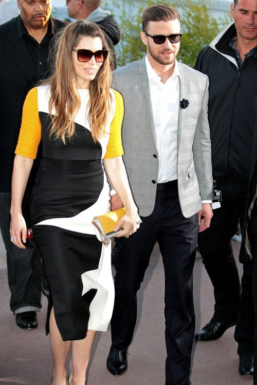 Jessica Biel & Justin Timberlake Together In Cannes At Le Grand Journal Jessica Biel, wearing a monochrome Roksanda Ilincic dress with orange sleeves, was on the arm of husband Justin as they left Le Grand Journal studio in Cannes. Is it just me or does she look way older than him?