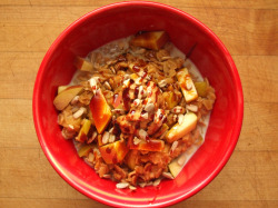 garden-of-vegan:  oatmeal with apple, molasses, ginger, peanut butter, sunflower seeds, and soy milk