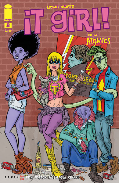 "iamdavidbrothers:  (via Preview: It Girl & the Atomics #8 - Comic Book Resources) I'm really into this cover from It Girl and the Atomics, a comic written by Jamie S Rich, drawn by Mike Norton (usually), colored by Allen Passalaqua, and lettered by Crank!. It's a good comic, if you haven't read it. Sort of an… accessible take on traditional cape comics? It's a comfortable comic. It feels like those midlist Marvel & DC books we all like. Anyway, this cover was created by Aaron Conley, Mike Allred, and Laura Allred. Laura A colored it, I assume. I'm not sure what Mike A did, but this is different enough from his work that I assume Mike A may have done layouts, maybe, while Aaron Conley did the pencils & inks? I don't know, exactly, but the finished product is really strong. I like that there are five characters on-screen with five different types of lips (the two women are similar, yes, but the shapes differ). I like the details on the clothes, like the waviness of It Girl's crop top (her jewelry game is on point, too) or the draping of pause — I just realized that the poster says ""The David Lynch Mob"" which is the most amazing thing ever. Ice Cube on vocals, David Lynch on bass? the draping of The Slug's orange top, the posture of her purse… the way Mr. Gum's shirt hangs over his belt is very real. Love them yellow cowboy boots, too. I like how this feels like an album cover. It may be an homage to something, but I dunno. Good comic. Good cover."
