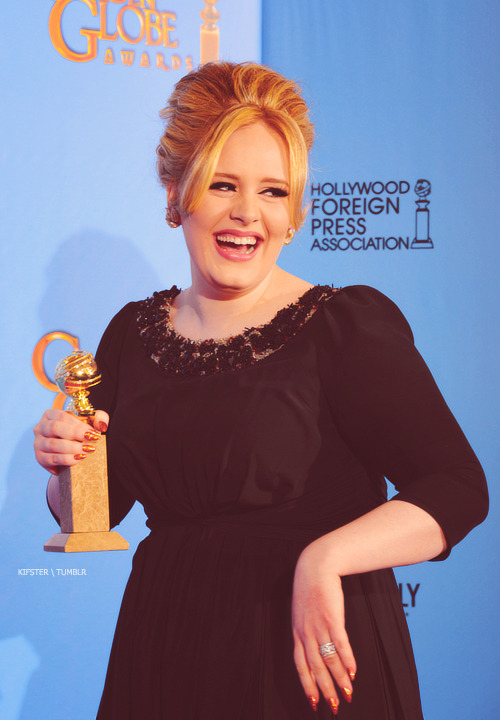 kifster:  Adele with her Golden Globe Award, Backstage @ the Beverly Hilton Hotel ~ January 13, 2013