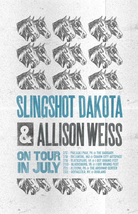I'm hittin' that dusty trail again in July, this time for a few shows with a band that I fucking adore: Slingshot Dakota!!!  Come see us! We are so ready to hang out with you!  July 17 - Philadelphia PA @ The Barbary July 18 - Baltimore MD @ Charm City Artspace July 19 - Blacksburg VA @ I Got Brans Fest (Set time TBA) July 20 - Blacksburg VA @ I Got Brans Fest (Set time TBA) July 21 - Altoona PA @ The Archway Center July 22 - Rochester NY @ Dubland  Ticket links coming soon soon!   x  AW