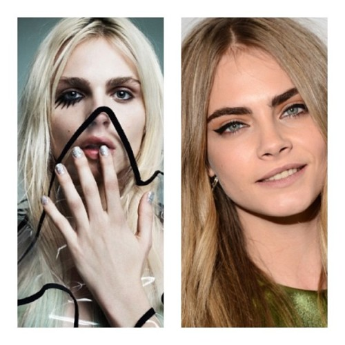 raincloudsareover:  Models Separated at birth. #andrejpejic #caradelevigne #separatedatbirth