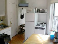 "theworstroom:  East Village, Manhattan. $700.00 (Loft Bed Above Closet in Kitchen)  ""C'est Ridic!"""