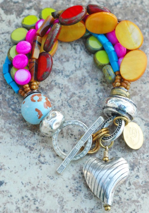 Passion Heart Charm Bracelet: Artisan Passion-Filled Colorful Silver Heart Charm Bracelet