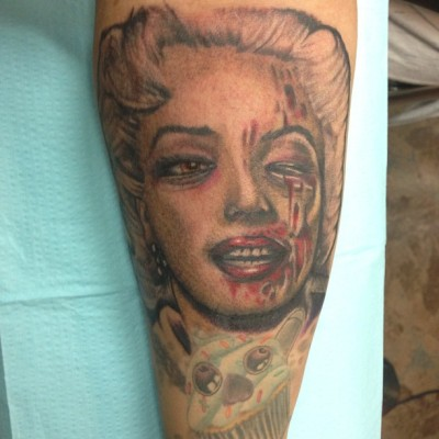 #Me #New #Ink #MarilynMonroe #Half #Zombie #Right #Arm #Addict #Addiction #Tattoo #Tattoos #Inked #Tatted #151 #Proof #Tattoos #Tattooed by Scott :3 (at 151 Proof Tattoos)