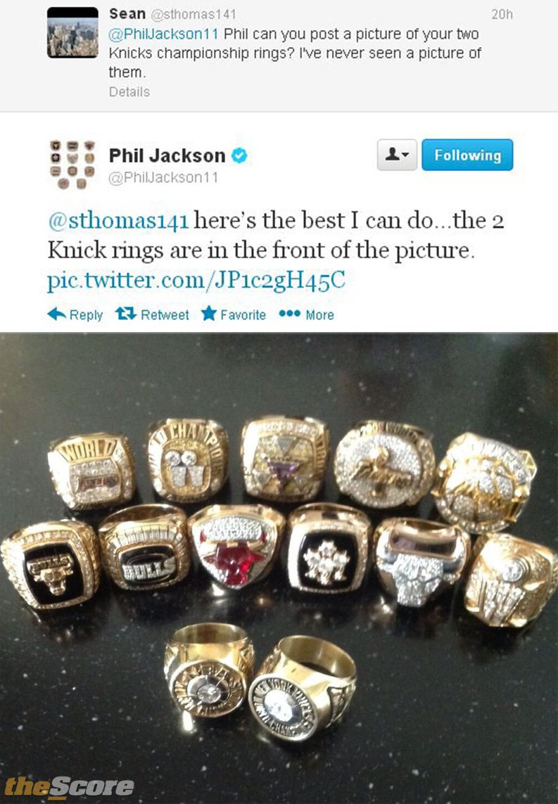 Pic: Phil Jackson shows off ring collection on Twitter.
