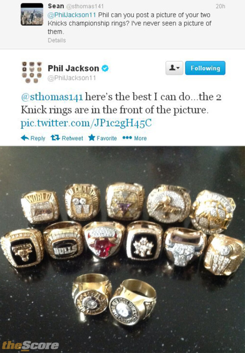 thescore:  Pic: Phil Jackson shows off ring collection on Twitter.