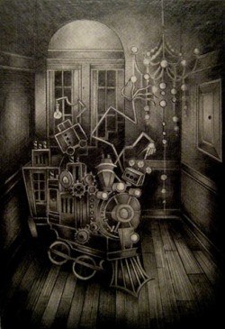 Rose Slaton I make black and gray illustrations using pencil and ink. I focus on Victorian, macabre, Steampunk, spooky, and fantastical themes in my work. I am interested in inanimate objects, particularly Victorian or industrial themed: mechanical, metal objects such as locomotives, carousels, or machinery are a few of my favorite objects to study and draw. My goal is to transport the viewer to a place that is fantastical, yet filled with dark, understated things.