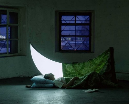 "herewecollide:  ""Private Moon,"" by Leonid Tishkov and Boris Bendikov, is an enchanting photographic story of a man who befriended the Moon."