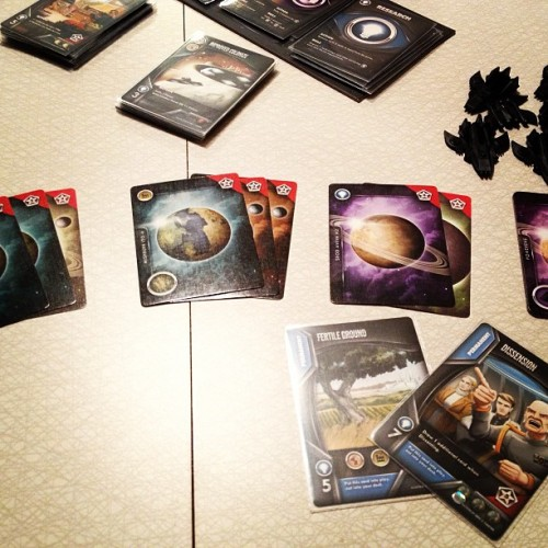 Some Eminent Domain with the wife tonight. I'm afraid I wasn't able to keep up with her. This is my empire. #bgg #boardgamegeek #boardgames #boardgame #cards #cardgame #eminentdomain