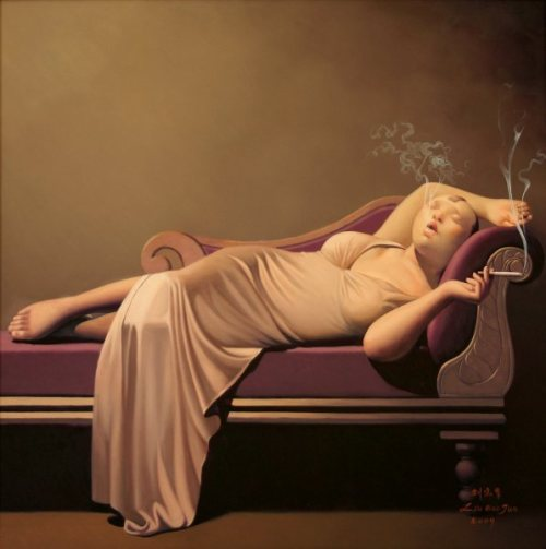 artisticmoods: One of the many smoking women portraits painted by Liu Baojun, China. Read more about how Liu Baojun gently challenges the perception of traditional versus modern women on this blog.