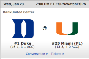 Canes men's basketball is ranked! #25 in the country! The Canes take on #1 Duke this wednesday. Let's get it done!